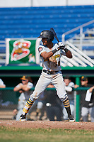 West Virginia Black Bears right fielder Michael De La Cruz (30) at bat during a game against the Batavia Muckdogs on July 1, 2018 at Dwyer Stadium in Batavia, New York.  Batavia defeated West Virginia 8-4.  (Mike Janes/Four Seam Images)