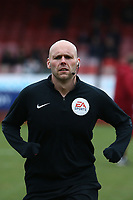 Referee Charles Breakspear warms up ahead of Crawley Town vs Oldham Athletic, Sky Bet EFL League 2 Football at Broadfield Stadium on 7th March 2020