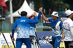 Kim Sang-Hoon, Furukawa Takaharu (JPN), Sugimoto Tomomi(JPN)<br /> AUGUST 27, 2018 ? Archery : <br /> Asian games 2018 Jakarta Palembang<br /> Recurve Mixed Team Gold Medal Match, <br /> at The GBK in Jakarta, Indonesia. <br /> (Photo by AFLO)