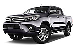 Stock pictures of low aggressive front three quarter view of 2017 Toyota Hilux Lounge-Double 4 Door Pickup Low Aggressive