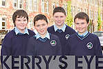 Aaron O'Callaghan, Conor Quirke, Ethan Fleming, Evan Cosgrove who attended former St Brendan's College student Pio Fitzgerald who is a Programme Manager with Bowing talk at the college last Friday..