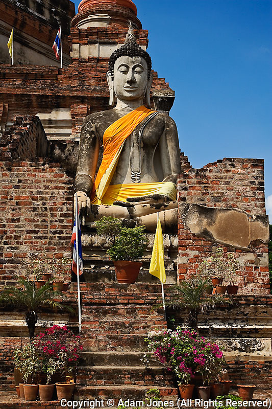 Buddha, White Buddha, Wat Yai Chaya Mongkol or The Great Temple of Auspicious Victory, Ayutthaya, Thailand