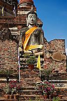 Buddha, White Buddha, Wat Yai Chaya Mongkol or The Great Temple of Auspicious Victory, Ayutthaya, Thailand