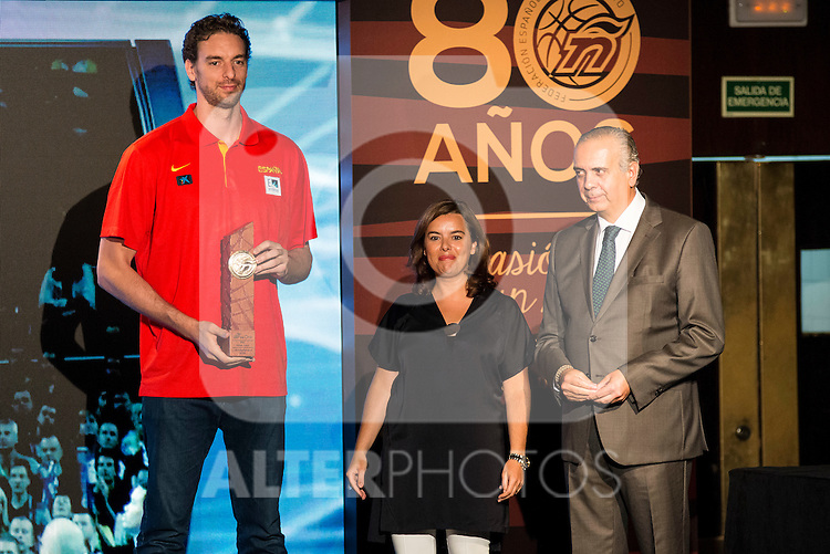 Pau Gasol during the 80th Aniversary of the National Basketball Team at Melia Castilla Hotel, Spain, September 01, 2015. <br /> (ALTERPHOTOS/BorjaB.Hojas)