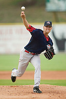 Greenville starting pitcher Daniel Bard (33) fires the ball to the plate versus Kannapolis at Fieldcrest Canon Stadium in Kannapolis, NC, Monday, June 11, 2007.  The Drive no-hit the Intimidators in a game shortened to 6 innings by rain.