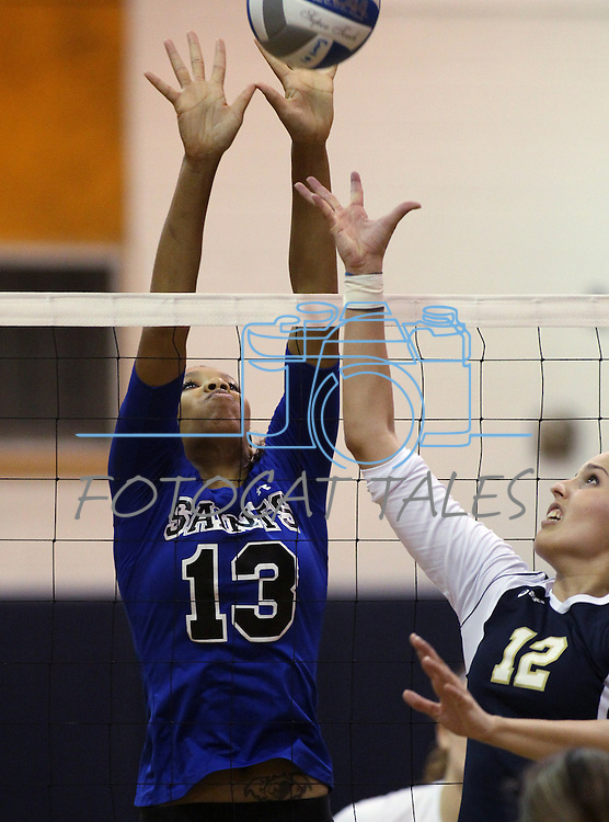 Jenn Forbes goes up for a block for the Marymount University Saints during first round action at the 6th annual Worthington Classic at Gallaudet University in Washington, D.C., on Friday, Sept. 28, 2012. .Photo by Cathleen Allison