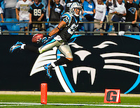 Carolina Panthers wide receiver Steve Smith (89) dives into the endzone against the Arizona Cardinals during an NFL football game at Bank of America Stadium in Charlotte, NC.