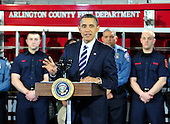 United States President Barack Obama makes remarks on the economy at Fire Station #5 in Arlington, Virginia on Friday, February 3, 2012.  .Credit: Ron Sachs / Pool via CNP