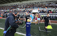 Pictured: Players exit the tunnel Saturday 10 January 2015<br />