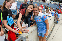 Bridgeview, IL - Saturday June 17, 2017: Fans, Lauren Kaskie during a regular season National Women's Soccer League (NWSL) match between the Chicago Red Stars and the Washington Spirit at Toyota Park. The match ended in a 1-1 tie.