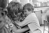 Gerry Mabin comforting a young lad, Julian's Primary School, Streatham, London.  1971.  Gerry later moved to Toronto, Canada, where she founded the Mabin School in 1980.