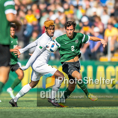 24 September 2016: Dartmouth College Big Green Midfielder/Defender Braden Salvati, a Freshman from Del Mar, CA, battles University of Vermont Catamount Forward Brian Wright, a Senior from Ajax, Ontario, at Virtue Field in Burlington, Vermont. The teams played to an overtime 1-1 tie in front of an Alumni Weekend crowd of 1,710 fans. Mandatory Credit: Ed Wolfstein Photo *** RAW (NEF) Image File Available ***
