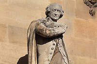 Statue of Nicolas de Condorcet, writer, 1743-94, by Pierre Loison in the Beauvais Rotonde, in the Cour Napoleon at the Musee du Louvre, Paris, France. A series of 86 statues of famous men were placed in this courtyard 1853-57 under the architects Louis Visconti and Hector Lefuel. Picture by Manuel Cohen