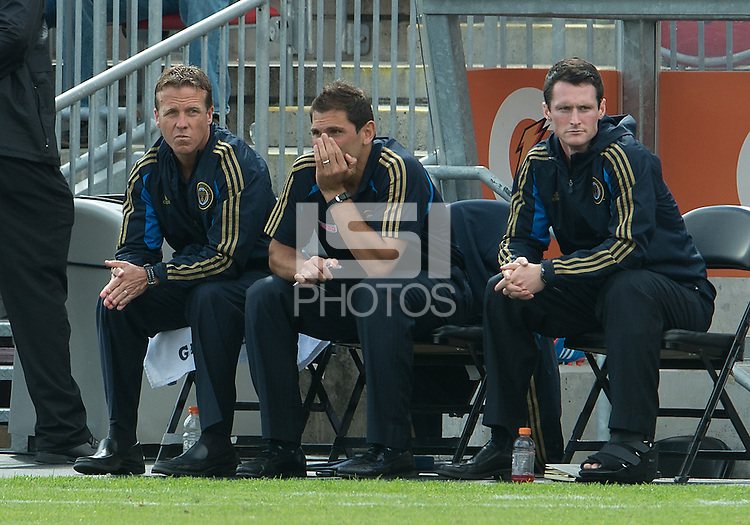 15 September 2012: Philadelphia Union team manager Jack Hackworth  and Philadelphia Union coach/technical director Rob Vartughian during an MLS game between the Philadelphia Union and Toronto FC at BMO Field in Toronto, Ontario Canada. .The game ended in a 1-1 draw.