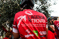Palermo (Sicily - Italy), 18/07/2017. &quot;L'Agenda Ritrovata&quot; (the Re-found Notebook) cycle relay arrives in Palermo's Via D'Amelio. The cycle relay, departed from Bollate (Milan) on 25 June 2017, was organised by the cultural association &quot;L'Orabl&ugrave;&quot;.<br />