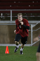 """9 February 2007: Brian Bulcke during a """"Friday Night Lights"""" practice at Stanford Stadium in Stanford, CA."""