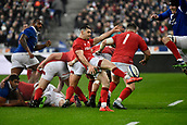 February 1st 2019, St Denis, Paris, France: 6 Nations rugby tournament, France versus Wales;  Tomos Williams (wal) kicks for field position from the scrum