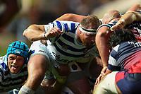 Henry Thomas of Bath Rugby prepares to scrummage against his opposite number. Gallagher Premiership match, between Bristol Bears and Bath Rugby on August 31, 2018 at Ashton Gate Stadium in Bristol, England. Photo by: Patrick Khachfe / Onside Images