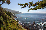 USA, California, Big Sur, Esalen, view of the coastline and the Pacific Ocean looking South, the Esalen Institute
