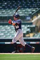 GCL Twins first baseman Brian Olson (60) at bat during a game against the GCL Orioles on August 11, 2016 at the Ed Smith Stadium in Sarasota, Florida.  GCL Twins defeated GCL Orioles 4-3.  (Mike Janes/Four Seam Images)