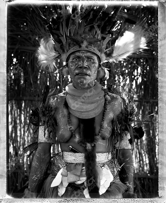 Member of the Konmal village, from the Nondogul District, Western Highlands Province at the annual 'Sing-Sing' festival, Mount Hagen, Papua New Guinea, August 2004.