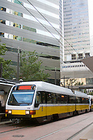Light rail train in downtown Dallas.