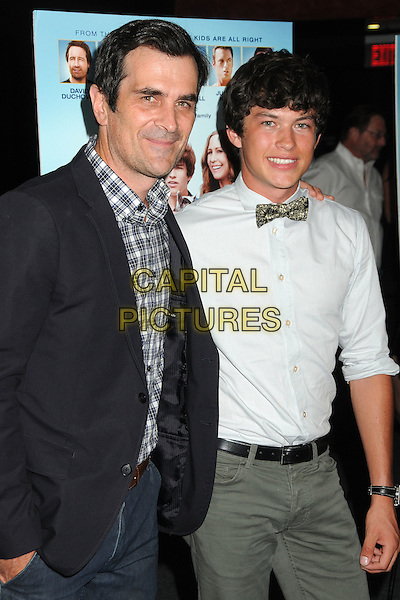 "Ty Burrell, Graham Phillips.""Goats"" Los Angeles Premiere held at the Landmark Theatre, Westwood, California, USA. .August 8th, 2012.half length black suit jacket white grey gray check shirt bow tie.CAP/ADM/BP.©Byron Purvis/AdMedia/Capital Pictures."