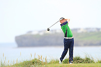 Eanna Griffin (Waterford) on the 12th tee during the Quarter Finals of The South of Ireland in Lahinch Golf Club on Tuesday 29th July 2014.<br /> Picture:  Thos Caffrey / www.golffile.ie