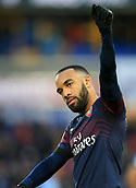 9th February 2019, The John Smith's Stadium, Huddersfield, England; EPL Premier League football, Huddersfield versus Arsenal; Alexandre Lacazette of Arsenal applauds the visiting fans at the final whistle