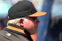 Baltimore Orioles manager Buck Showalter #26 before a spring training game against the Tampa Bay Rays at the Charlotte County Sports Park on March 5, 2012 in Port Charlotte, Florida.  (Mike Janes/Four Seam Images)