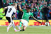 June 11th 2017, Dublin, Republic Ireland; 2018 World Cup qualifier, Republic of Ireland versus Austria;  Cyrus Christie of Ireland tries to block a shot from Florian Kainz of Austria