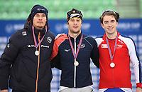 SPEED SKATING: HAMAR: Viking Skipet, 03-02-2019, ISU World Cup Speed Skating, Podium 500m Men Division B, Hein Otterspeer (NED), Joel Dufter (GER), Johann Jørgen Sæves (NOR), ©photo Martin de Jong