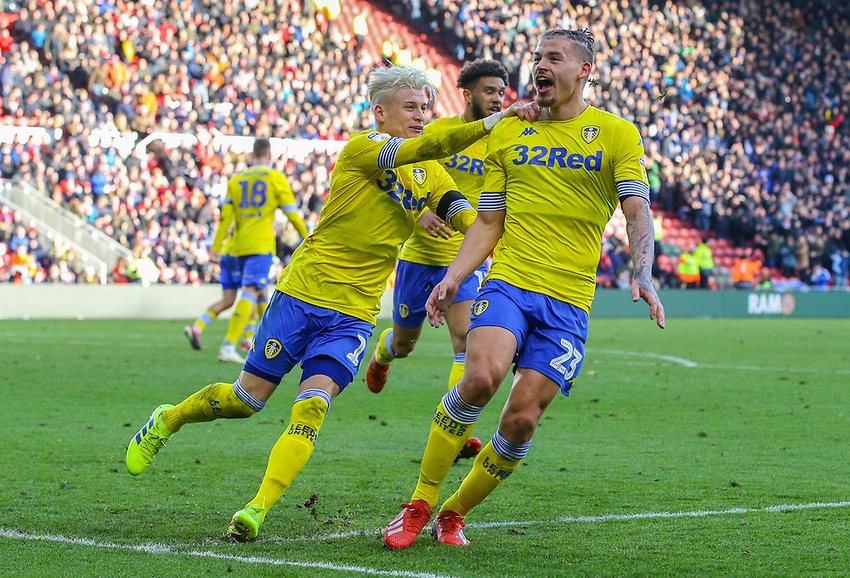 Leeds United's Kalvin Phillips celebrates scoring his side's equalising goal to make the score 1-1<br /> <br /> Photographer Alex Dodd/CameraSport<br /> <br /> The EFL Sky Bet Championship - Middlesbrough v Leeds United - Saturday 9th February 2019 - Riverside Stadium - Middlesbrough<br /> <br /> World Copyright © 2019 CameraSport. All rights reserved. 43 Linden Ave. Countesthorpe. Leicester. England. LE8 5PG - Tel: +44 (0) 116 277 4147 - admin@camerasport.com - www.camerasport.com