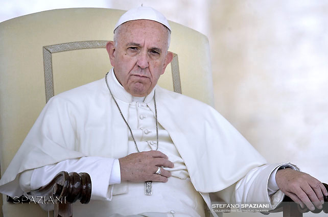 Pope Francis during of a weekly general audience at St Peter's square in Vatican. on September 7, 2016.