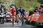 The breakaway group including, Casper Pedersen (DEN) Aqua Blue Sport and Anthony Perez (FRA) Cofidis climb Le Redoute during the 2018 Liège - Bastogne - Liège (UCI WorldTour), Belgium, 22 April 2018, Photo by Thomas van Bracht / PelotonPhotos.com