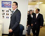 Former U.S. Secretary of Housing and Urban Development Henry Cisneros (L) and Los Angeles mayor Antonio Villaraigosa (R) arriving to speak to an assembly of presidential candidate Hillary Clinton supporters, Feb. 18, 2008, at Clinton's presidential campaign headquarters in San Antonio. (Darren Abate/PressPhotoIntl.com)
