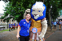 Marketing Virtuoso Kat Farmer and Bath Rugby mascot Maximus pose for a photo. Aviva Premiership match, between Bath Rugby and Newcastle Falcons on September 10, 2016 at the Recreation Ground in Bath, England. Photo by: Patrick Khachfe / Onside Images