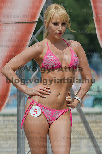 Emese Safrany attends the Miss Bikini Hungary beauty contest held in Budapest, Hungary on August 06, 2011. ATTILA VOLGYI