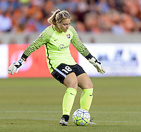 Houston, TX - Friday April 29, 2016: Sky Blue FC goalkeeper Caroline Stanley clears the ball at BBVA Compass Stadium. The Houston Dash tied Sky Blue FC 0-0.