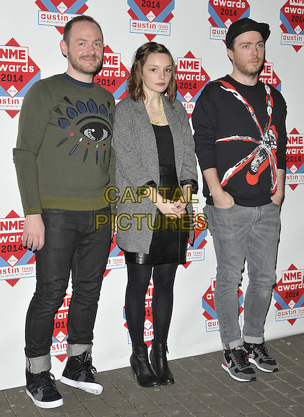 LONDON, ENGLAND - FEBRUARY 26: CHVRCHES ( Iain Cook, Lauren Mayberry &amp; Martin Doherty )  attend the NME Awards 2014, O2 Academy Brixton, February 26, 2014 in London, England, UK.<br /> CAP/CAN<br /> &copy;Can Nguyen/Capital Pictures