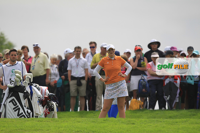 Olivia Mehaffey on the 16th tee during the Saturday Mourning Foursomes of the 2016 Curtis Cup at Dun Laoghaire Golf Club on Saturday 11th June 2016.<br /> Picture:  Golffile | Thos Caffrey