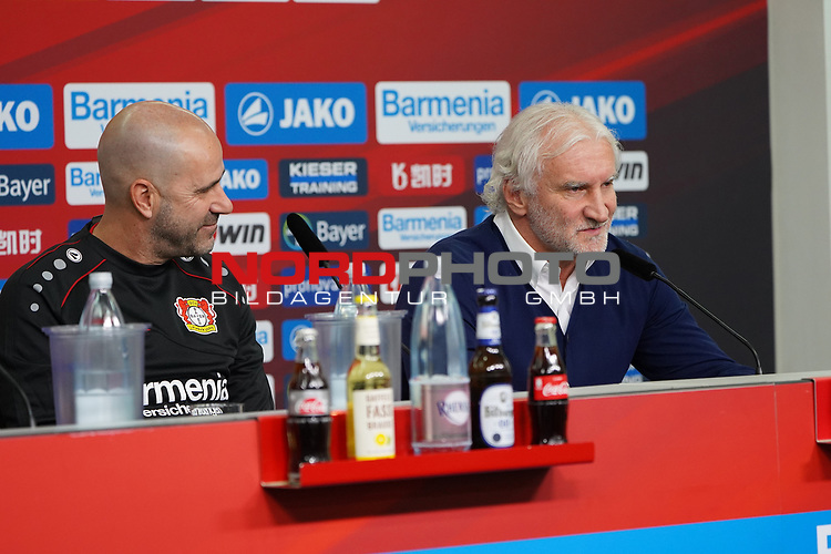 04.01.2019, BayArena, Leverkusen, GER, 1. FBL,  Bayer 04 Leverkusen PK Trainerwechsel,<br />  <br /> DFL regulations prohibit any use of photographs as image sequences and/or quasi-video<br /> <br /> im Bild / picture shows: <br /> erste Pressekonferenz von Peter Bosz Trainer / Headcoach (Bayer 04 Leverkusen), re Rudi V&ouml;ller/ Voeller Geschaeftsfuehrer Sport (Bayer 04 Leverkusen), <br /> <br /> Foto &copy; nordphoto / Meuter