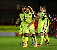 Exeter City's Ollie Watkins and Jordan Moore-Taylor come to acknowledge fans during the Sky Bet League 2 match between Crawley Town and Exeter City at Broadfield Stadium, Crawley, England on 28 February 2017. Photo by Carlton Myrie / PRiME Media Images.