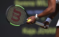 A close-up of Serena Williams (USA) during her match against Kaja Juvan (SLO) in their Ladies' Singles Second Round match<br /> <br /> <br /> Photographer Rob Newell/CameraSport<br /> <br /> Wimbledon Lawn Tennis Championships - Day 4 - Thursday 4th July 2019 -  All England Lawn Tennis and Croquet Club - Wimbledon - London - England<br /> <br /> World Copyright © 2019 CameraSport. All rights reserved. 43 Linden Ave. Countesthorpe. Leicester. England. LE8 5PG - Tel: +44 (0) 116 277 4147 - admin@camerasport.com - www.camerasport.com