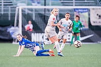 Boston, MA - Sunday May 07, 2017: Rose Lavelle and Mccall Zerboni during a regular season National Women's Soccer League (NWSL) match between the Boston Breakers and the North Carolina Courage at Jordan Field.