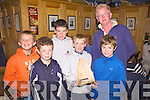 Dingle's young sailors are the 'Optimist Fleet Winners', at the Inter Club Autumn Regatta held in Cahersiveen on Saturday last, pictured here at the presentation in The Ring of Kerry Hotel, Cahersiveen are, l-r; Liam Smyth, Sean Breandan O? Beaglaoich, Aidan Carroll, Fionn O'Regan, Caoilte Curneen and making the presentation Jerry Enright(Atlantic S.C.)