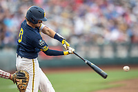 Michigan Wolverines catcher Joe Donovan (0) swings the bat during Game 6 of the NCAA College World Series against the Florida State Seminoles on June 17, 2019 at TD Ameritrade Park in Omaha, Nebraska. Michigan defeated Florida State 2-0. (Andrew Woolley/Four Seam Images)