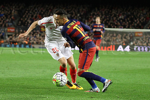 28.02.2016. Nou Camp, Barcelona, Spain. La Liga football match. Barcelona versus Sevilla. Neymar challenged by Vitolo