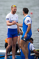 Sarasota. Florida USA.  GBR M4-. Stroke Will SATCH.  congratulates a ITA M4- memeber. Final A. 2017 World Rowing Championships, Nathan Benderson Park<br /> <br /> Saturday  30.09.17   <br /> <br /> [Mandatory Credit. Peter SPURRIER/Intersport Images].<br /> <br /> <br /> NIKON CORPORATION -  NIKON D4S  lens  VR 500mm f/4G IF-ED mm. 200 ISO 1/2500/sec. f 4