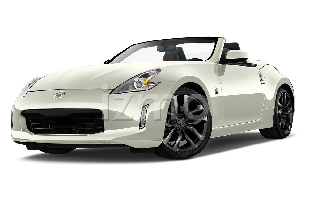 Stock pictures of low aggressive front three quarter view of a 2019 Nissan 370Z  Touring  2 Door Convertible